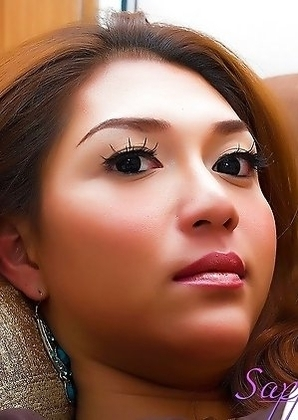 Gorgeous Asian Shemale SAPPHIRE YOUNG cumming all over her own tummy and tits