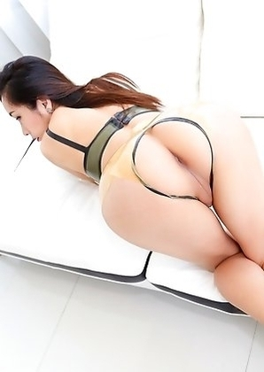 Big Dick Asian shemale spreading her ass