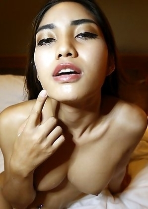 Busty Thailand femboy Wine is so horny for cock that she jerks her own cock while sucking his