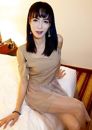 Thai ladyboy Poy gives a pov blowjob to a fat white cock