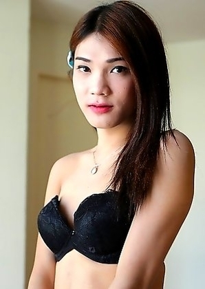 20yo Thai shemale Spor does a striptease and gets fucked by white cock