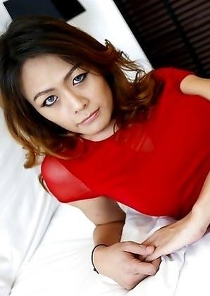 26yo cute Thai ladyboy Teena striptease on the window ledge for foreigner