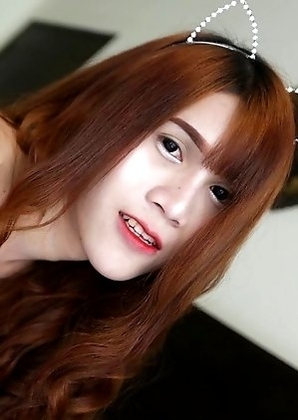 18 year old horny Thai ladyboy Phone with big boobs does a striptease