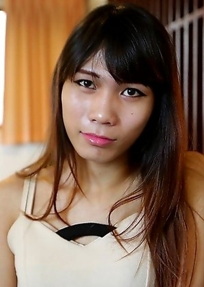 19 year old horny Thai ladyboy Noody  does a striptease for white tourist