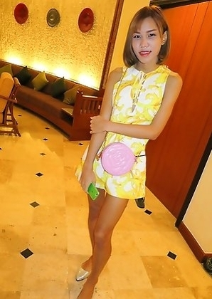 Ladyboy Noey - Cartoon Skirt & No Panties Creampie