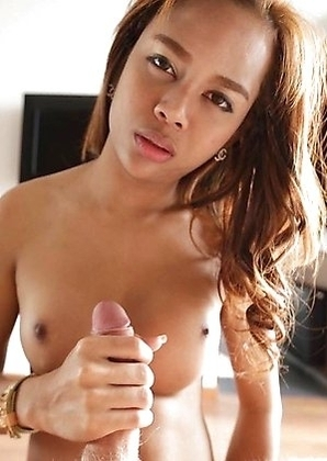 Horny Thai ladyboy Mond with hard cock enjoys cumshots