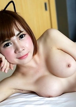 20 year old shy Thai ladyboy yuri gets cum on her big tits