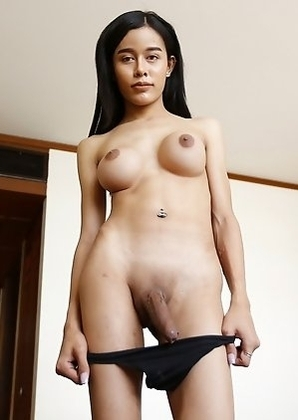 20yo busty Thai shemale Jam gets a facial after sucking his big white cock