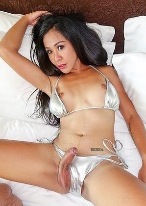 Thai Tgirl Quiz  - silver bikini 3x cum bareback